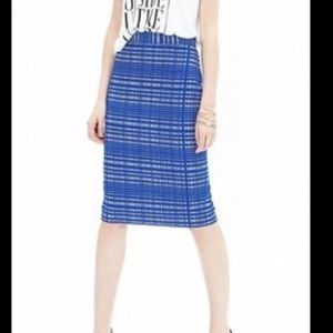 Banana Republic blue plaid jacquard pencil skirt 2